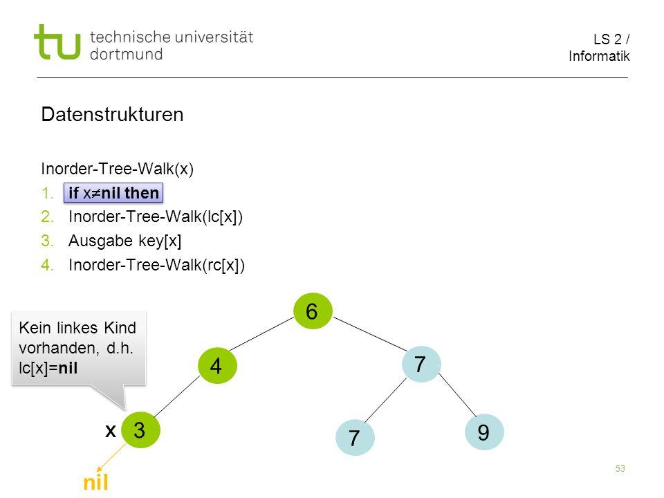 6 4 7 x x 3 9 7 nil Datenstrukturen Inorder-Tree-Walk(x)
