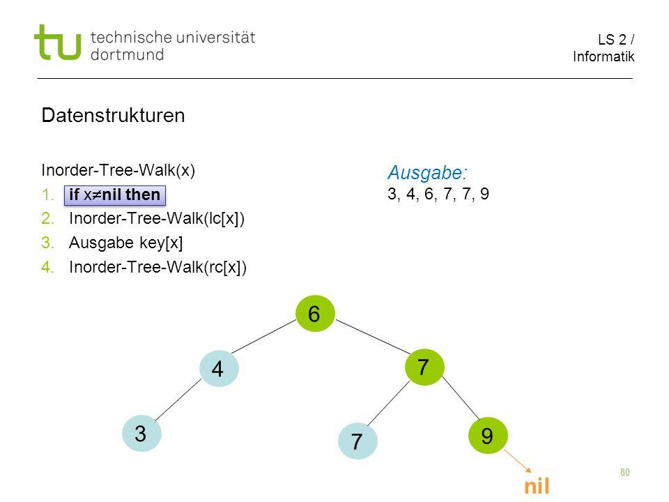 6 4 7 3 9 7 nil Datenstrukturen Ausgabe: Inorder-Tree-Walk(x)