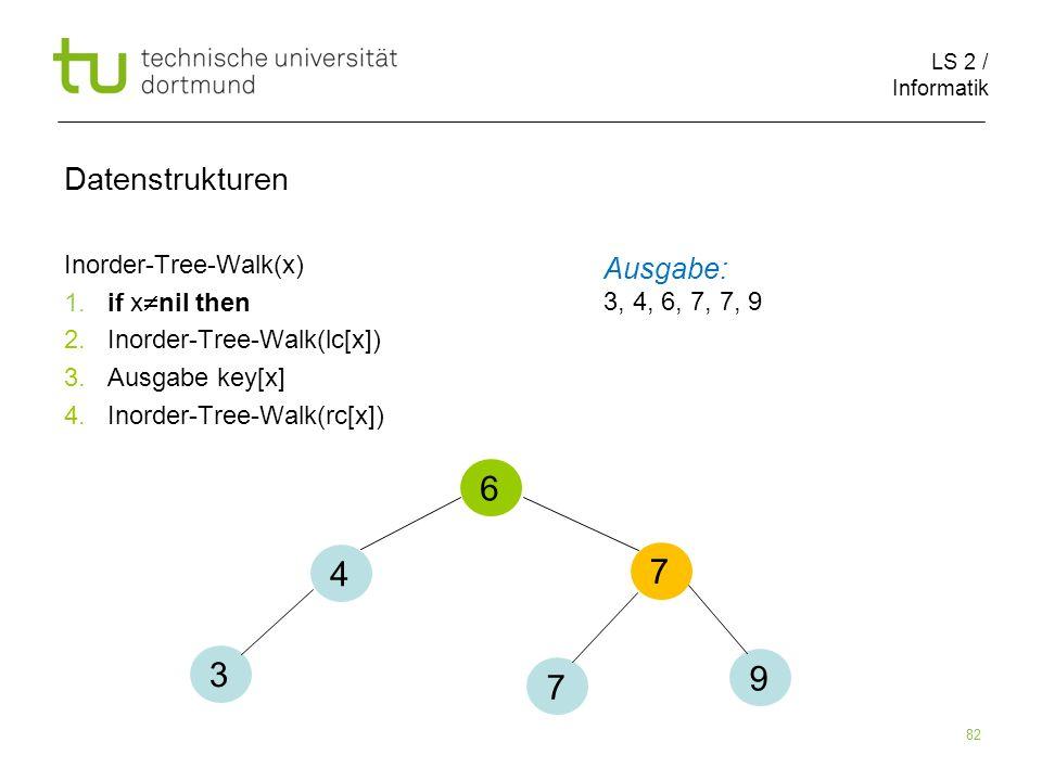 6 4 7 3 9 7 Datenstrukturen Ausgabe: Inorder-Tree-Walk(x)