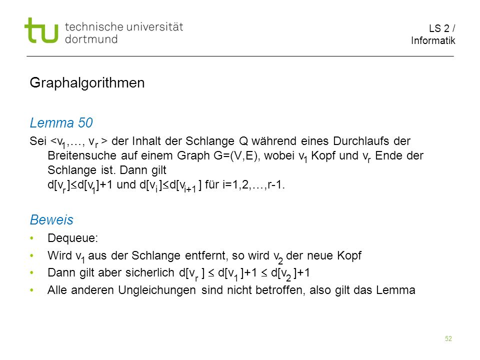 Graphalgorithmen Lemma 50 Beweis