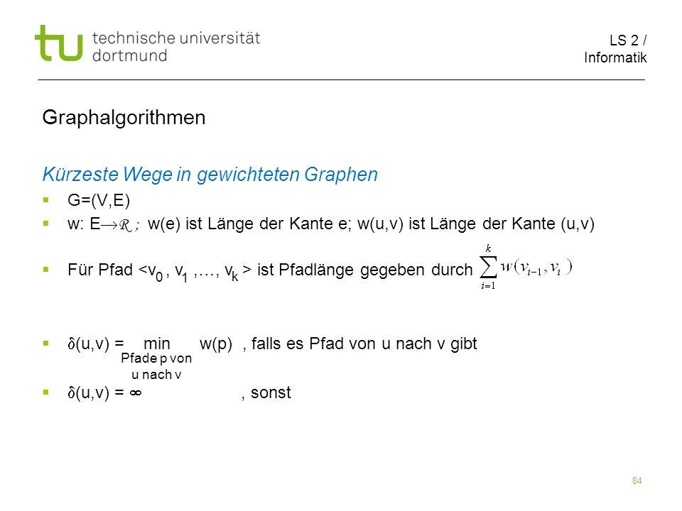 Graphalgorithmen Kürzeste Wege in gewichteten Graphen G=(V,E)