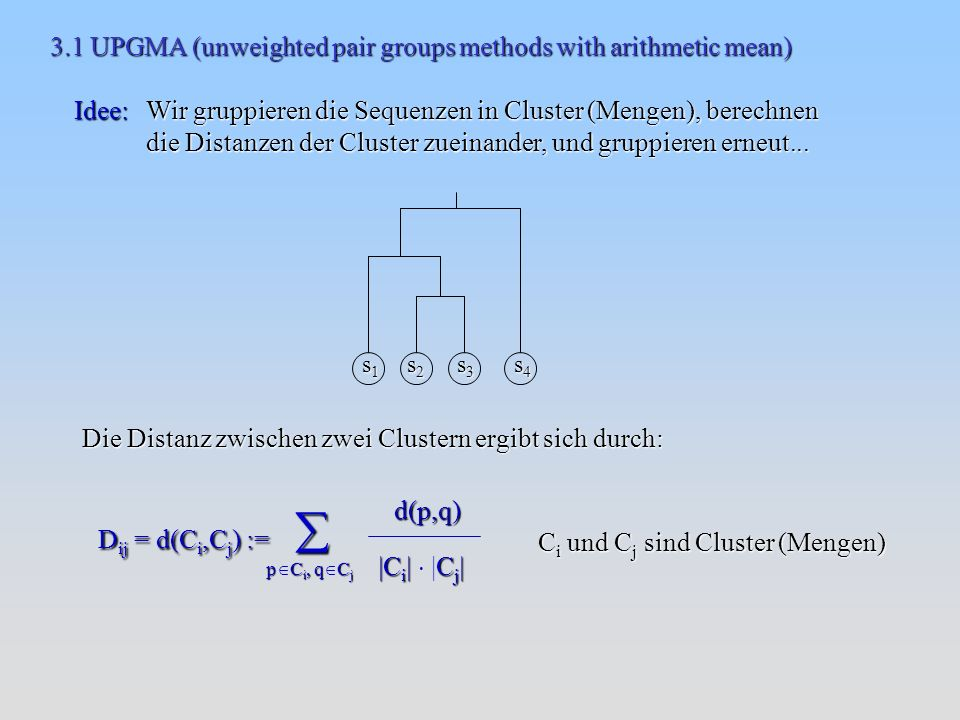 3.1 UPGMA (unweighted pair groups methods with arithmetic mean)