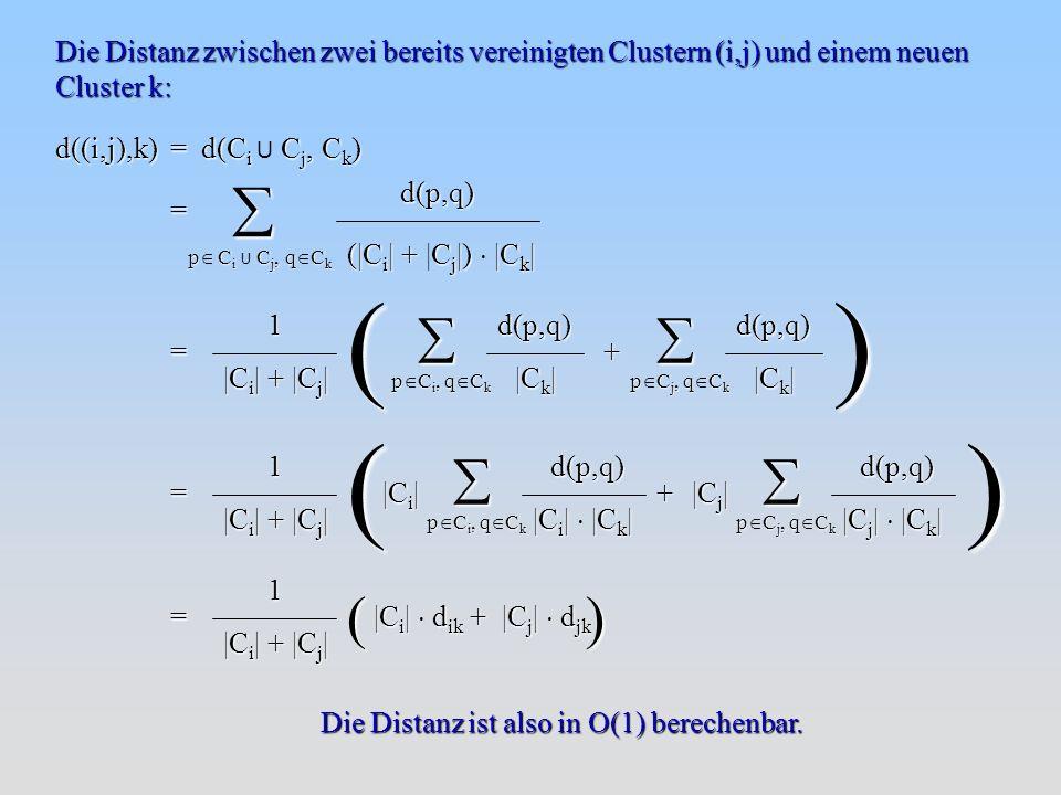 Die Distanz zwischen zwei bereits vereinigten Clustern (i,j) und einem neuen Cluster k: