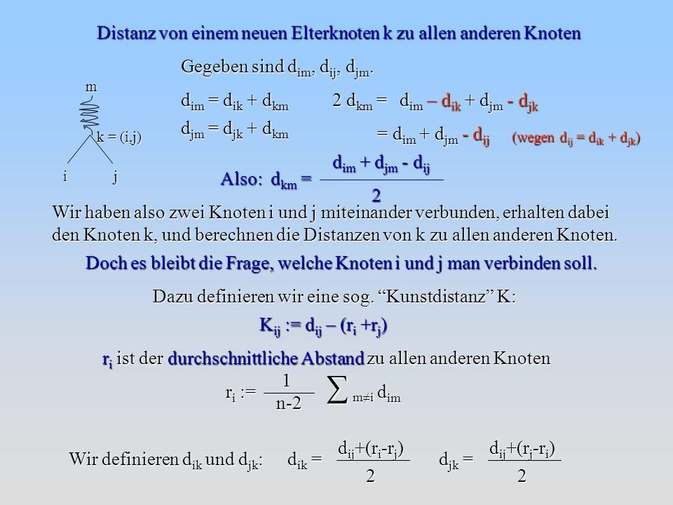 ∑ m≠i Distanz von einem neuen Elterknoten k zu allen anderen Knoten