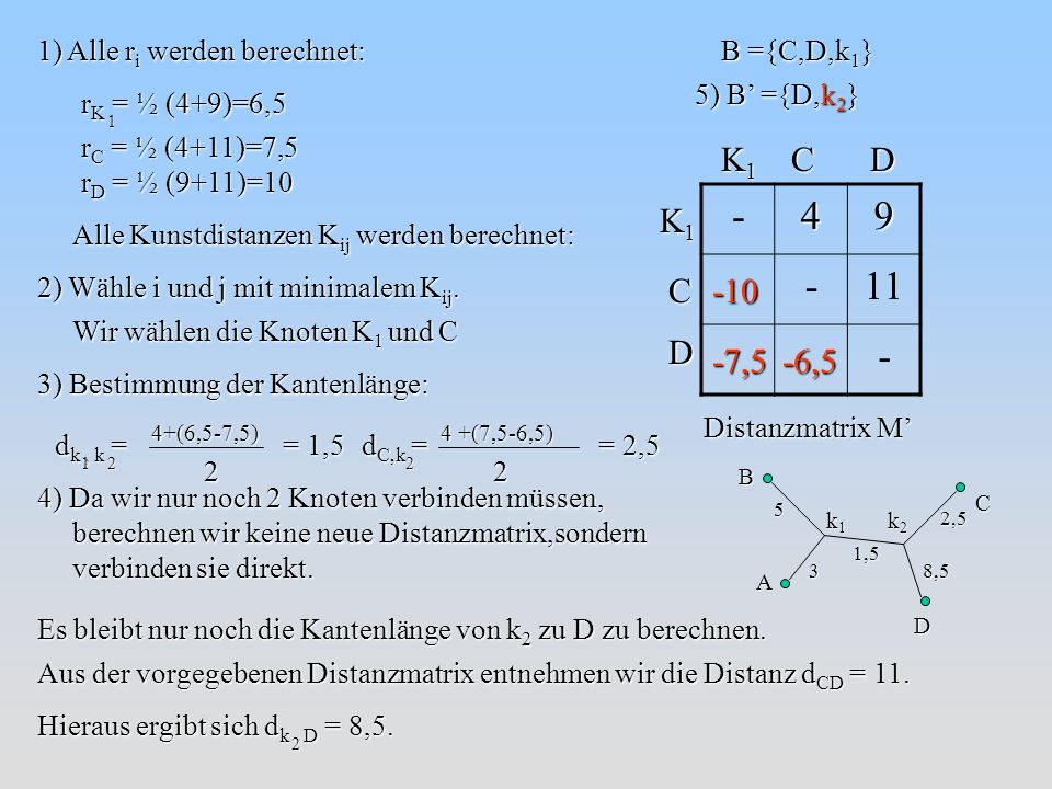 - 4 9 11 K1 C D K1 C D -10 -7,5 -6,5 1) Alle ri werden berechnet: