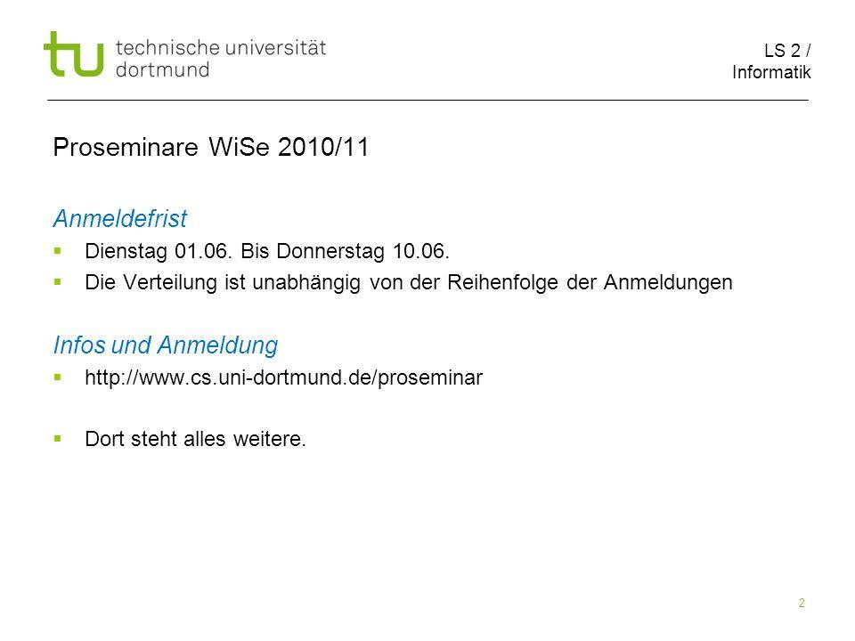 Proseminare WiSe 2010/11 Anmeldefrist Infos und Anmeldung