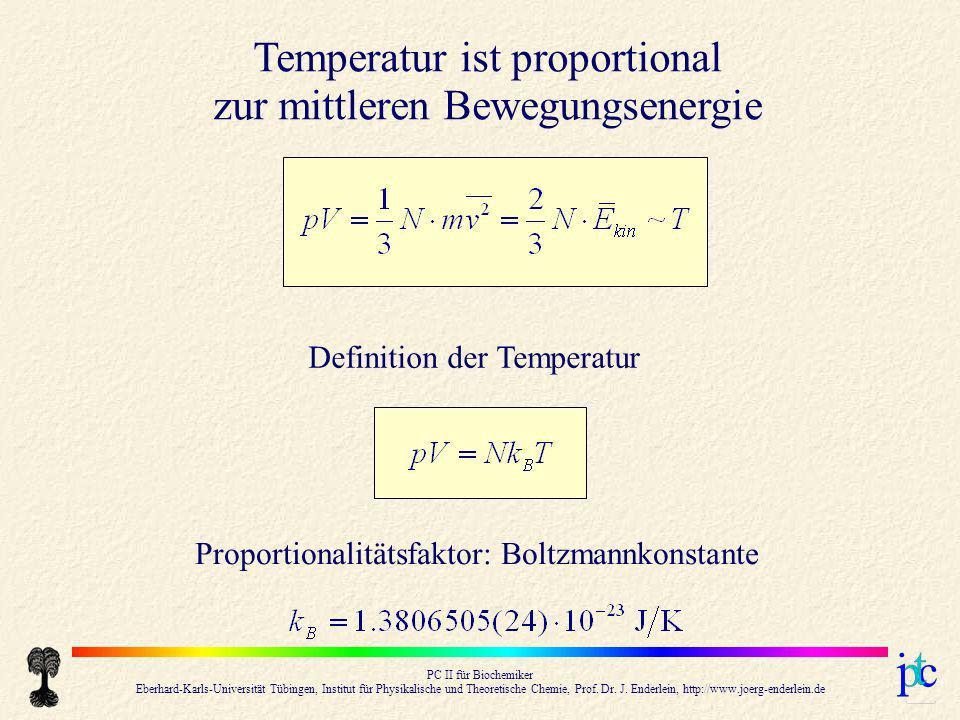 Temperatur ist proportional zur mittleren Bewegungsenergie