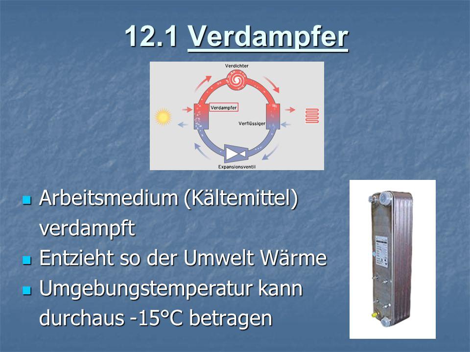 12.1 Verdampfer Arbeitsmedium (Kältemittel) verdampft