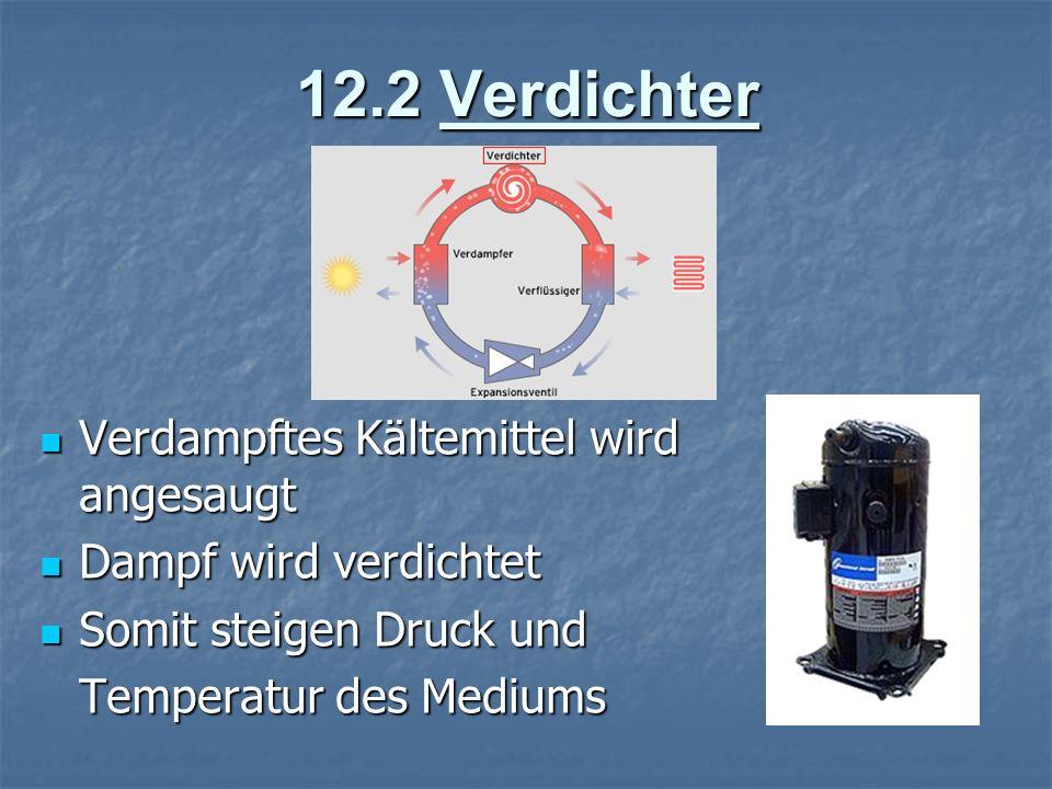 12.2 Verdichter Verdampftes Kältemittel wird angesaugt