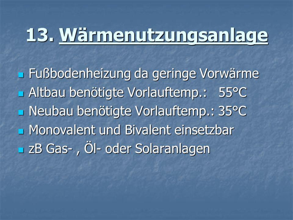 13. Wärmenutzungsanlage Fußbodenheizung da geringe Vorwärme