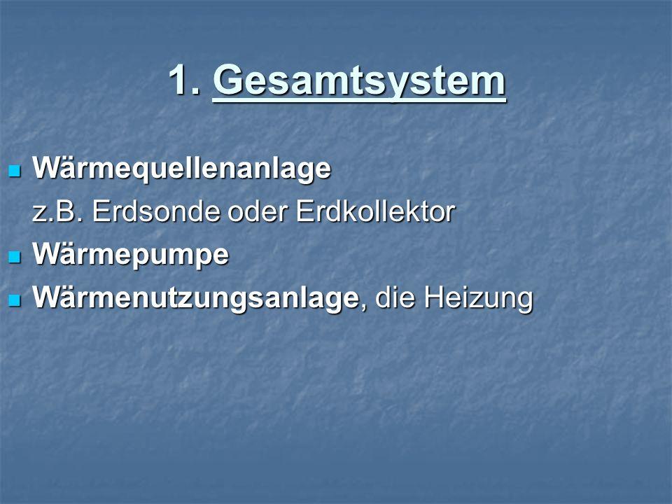 1. Gesamtsystem Wärmequellenanlage z.B. Erdsonde oder Erdkollektor