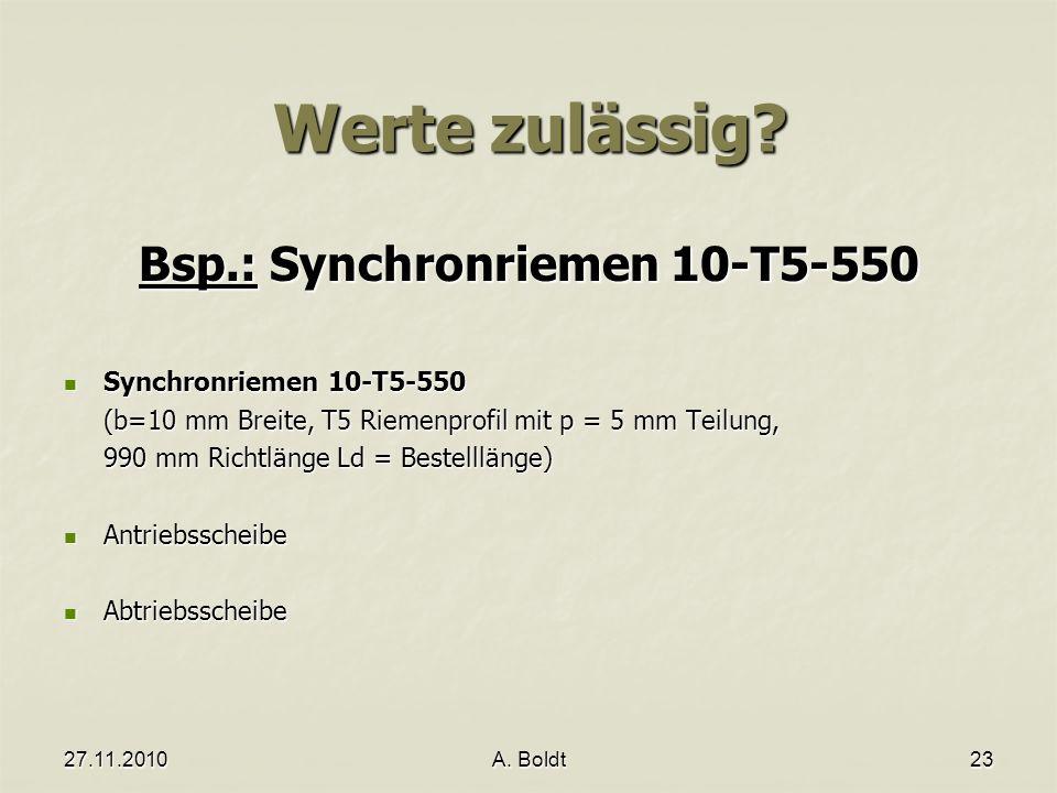 Bsp.: Synchronriemen 10-T5-550