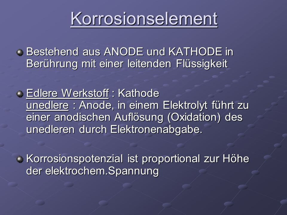Korrosionselement Bestehend aus ANODE und KATHODE in Berührung mit einer leitenden Flüssigkeit.