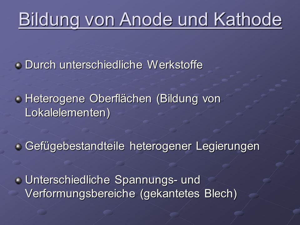 Bildung von Anode und Kathode