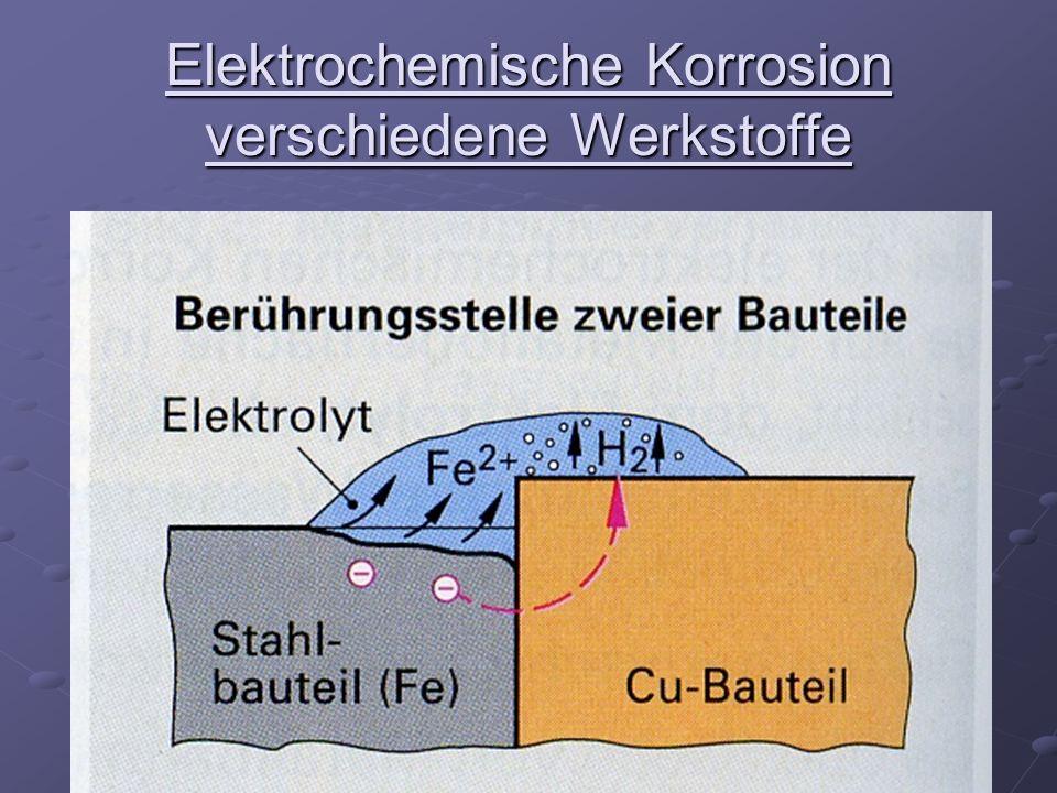 Elektrochemische Korrosion verschiedene Werkstoffe