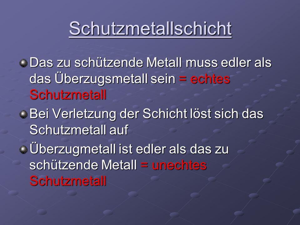 SchutzmetallschichtDas zu schützende Metall muss edler als das Überzugsmetall sein = echtes Schutzmetall.