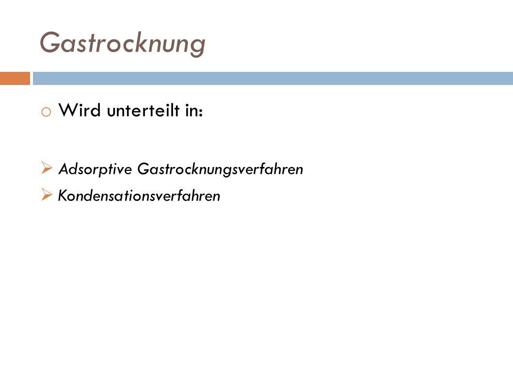 Gastrocknung Wird unterteilt in: Adsorptive Gastrocknungsverfahren