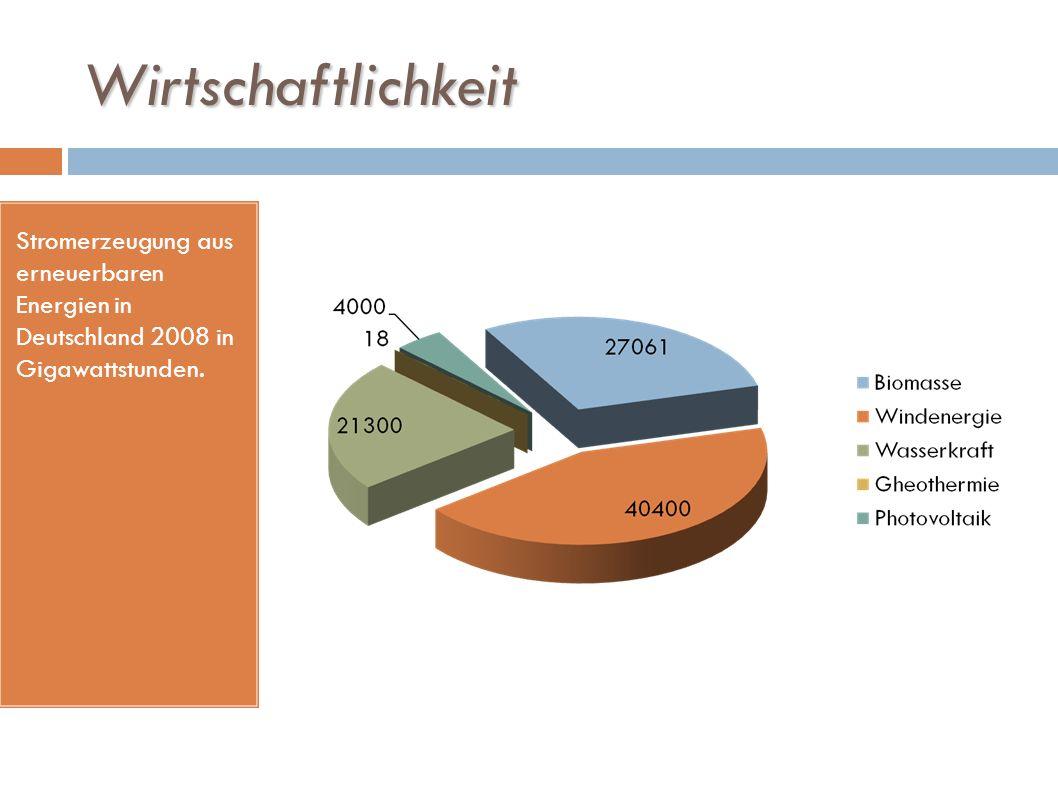 Wirtschaftlichkeit Stromerzeugung aus erneuerbaren Energien in Deutschland 2008 in Gigawattstunden.