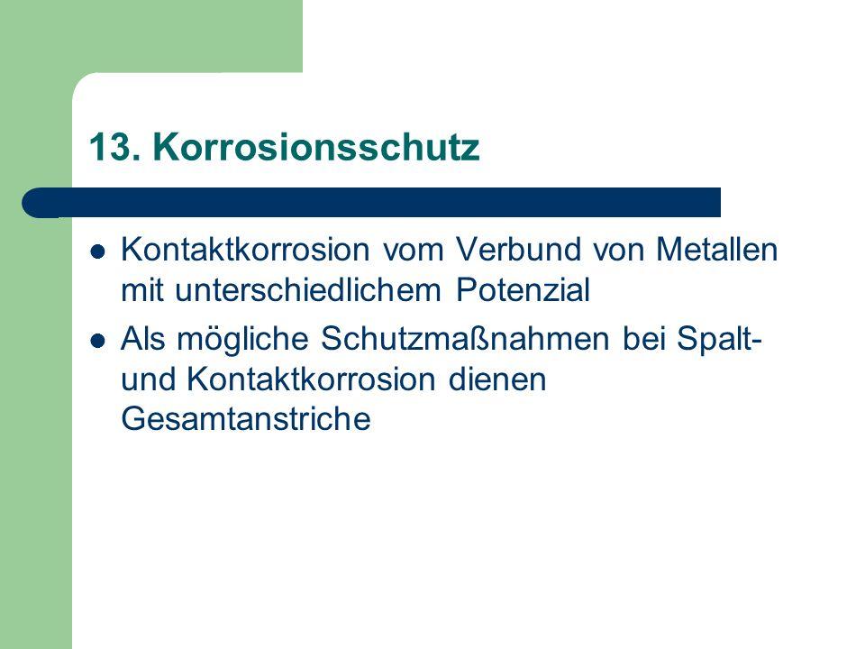 13. Korrosionsschutz Kontaktkorrosion vom Verbund von Metallen mit unterschiedlichem Potenzial.