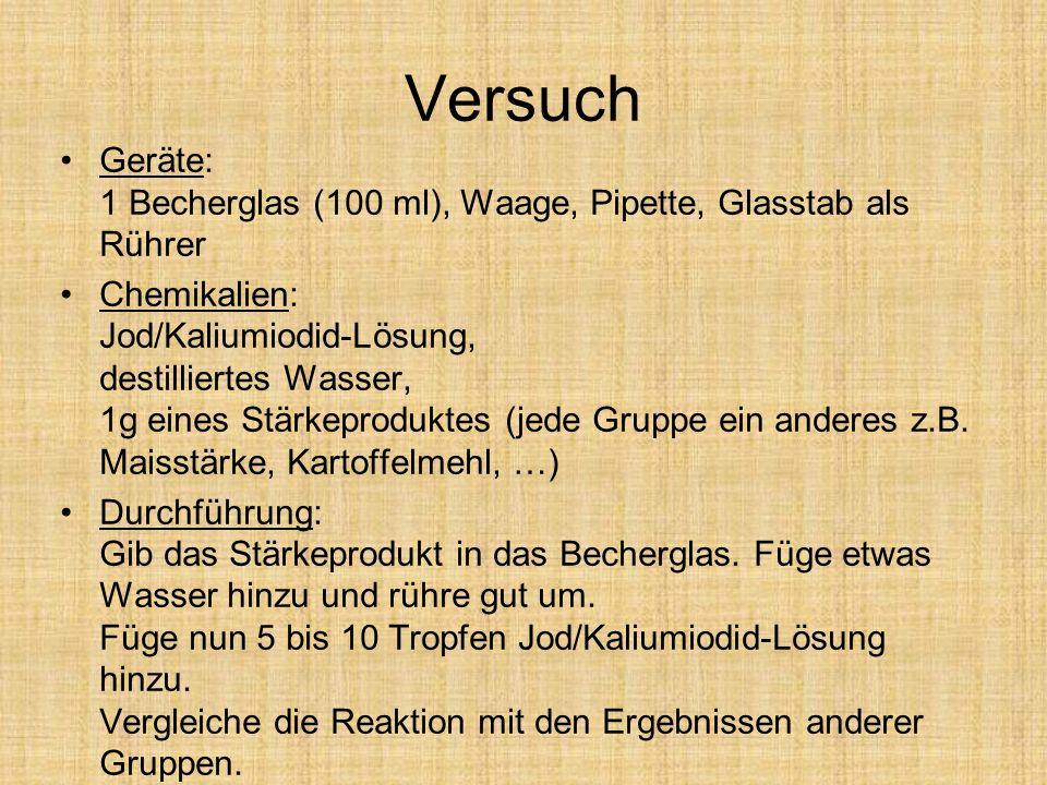 Versuch Geräte: 1 Becherglas (100 ml), Waage, Pipette, Glasstab als Rührer.