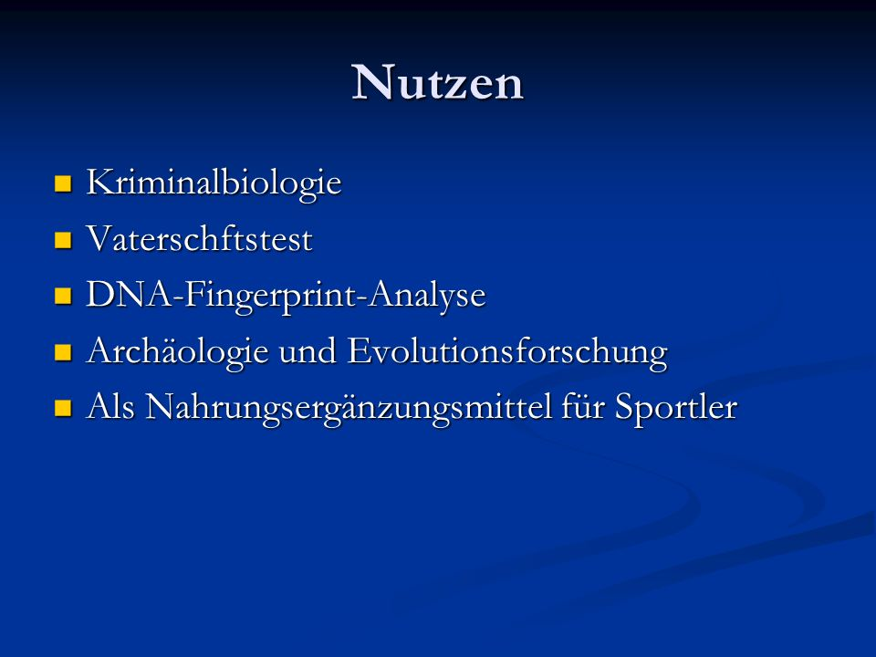 Nutzen Kriminalbiologie Vaterschftstest DNA-Fingerprint-Analyse