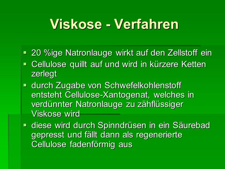 Viskose - Verfahren 20 %ige Natronlauge wirkt auf den Zellstoff ein