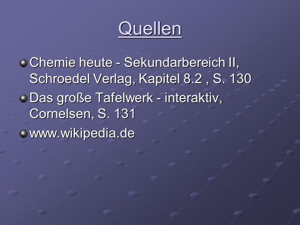 Quellen Chemie heute - Sekundarbereich II, Schroedel Verlag, Kapitel 8.2 , S. 130. Das große Tafelwerk - interaktiv, Cornelsen, S. 131.