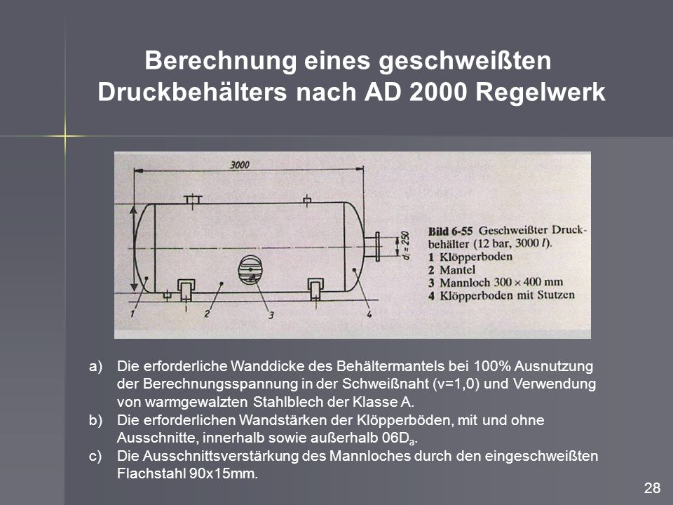 Berechnung eines geschweißten Druckbehälters nach AD 2000 Regelwerk