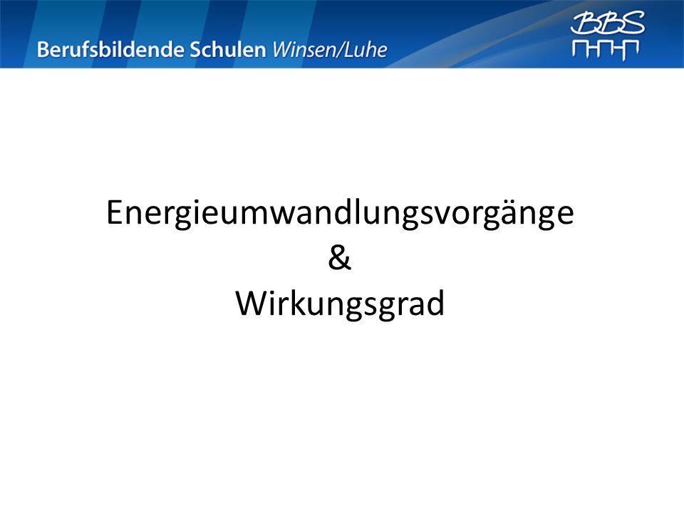 Energieumwandlungsvorgänge & Wirkungsgrad
