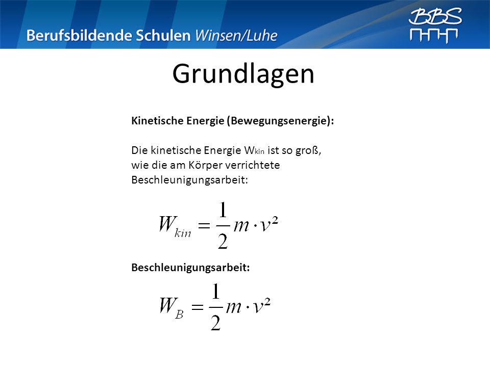 Grundlagen Kinetische Energie (Bewegungsenergie):
