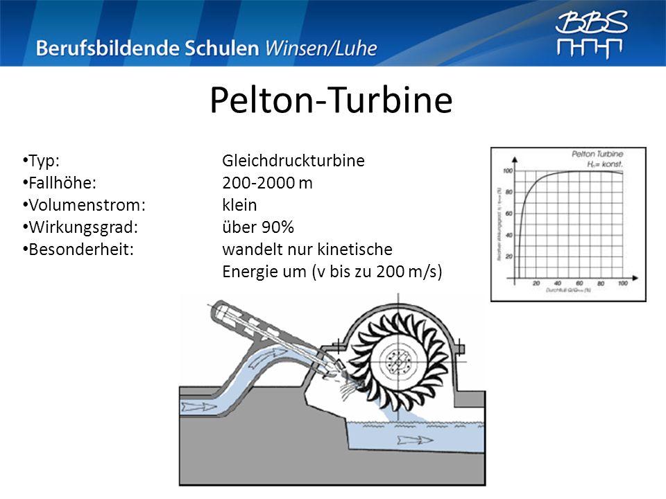 Pelton-Turbine Typ: Gleichdruckturbine Fallhöhe: 200-2000 m
