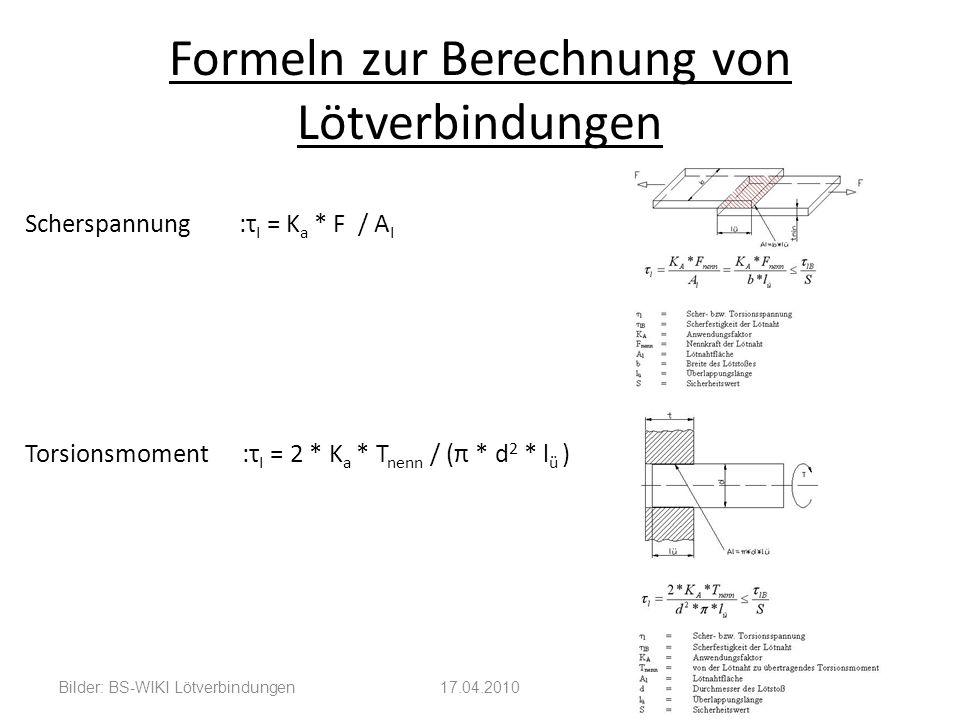 Formeln zur Berechnung von Lötverbindungen