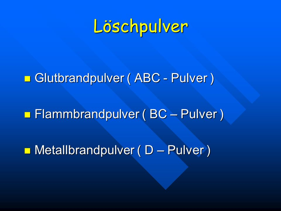 Löschpulver Glutbrandpulver ( ABC - Pulver )