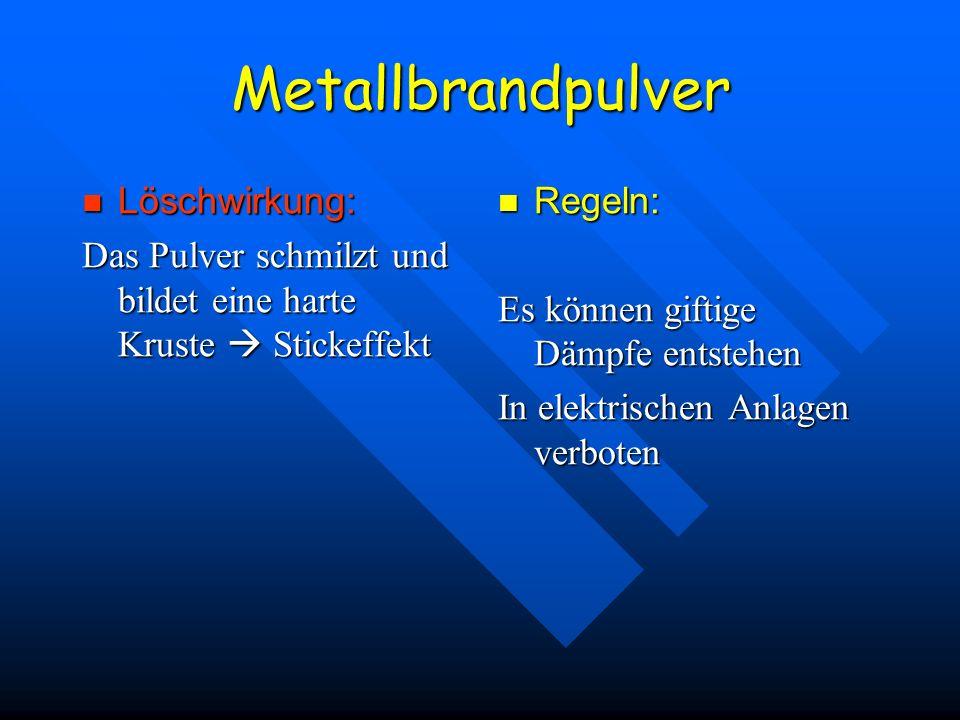 Metallbrandpulver Löschwirkung: