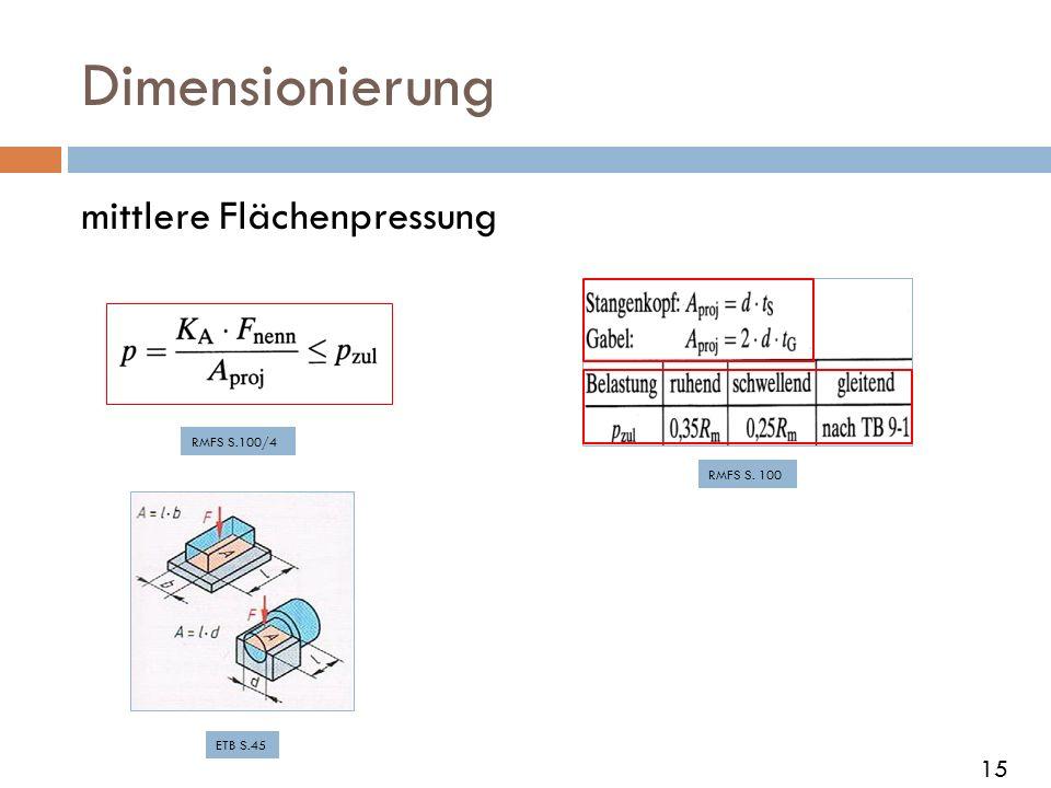 Dimensionierung mittlere Flächenpressung 15 RMFS S.100/4 RMFS S. 100