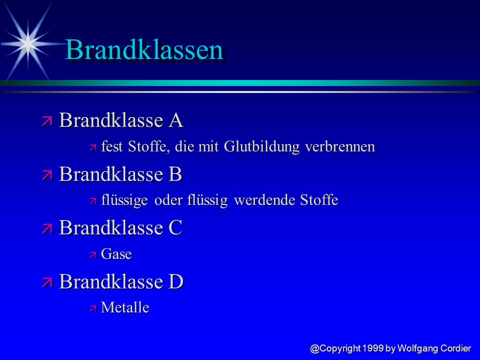 Brandklassen Brandklasse A Brandklasse B Brandklasse C Brandklasse D