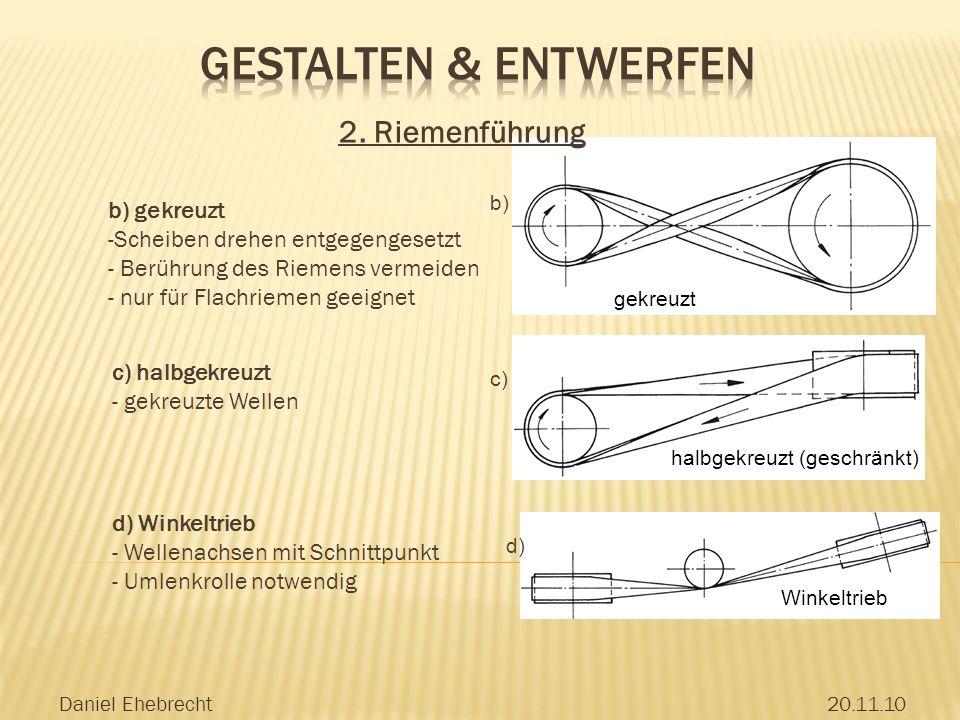 Gestalten & Entwerfen 2. Riemenführung b) gekreuzt