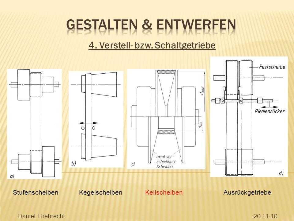 Gestalten & Entwerfen 4. Verstell- bzw. Schaltgetriebe Stufenscheiben