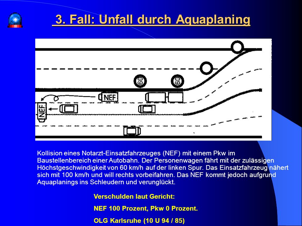 3. Fall: Unfall durch Aquaplaning