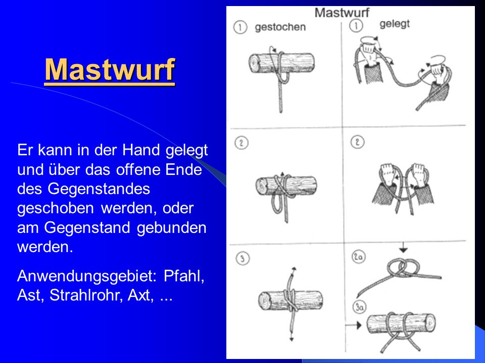 Mastwurf Er kann in der Hand gelegt und über das offene Ende des Gegenstandes geschoben werden, oder am Gegenstand gebunden werden.