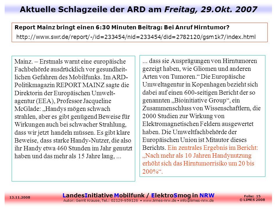 Aktuelle Schlagzeile der ARD am Freitag, 29.Okt. 2007