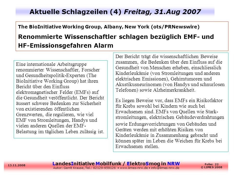 Aktuelle Schlagzeilen (4) Freitag, 31.Aug 2007