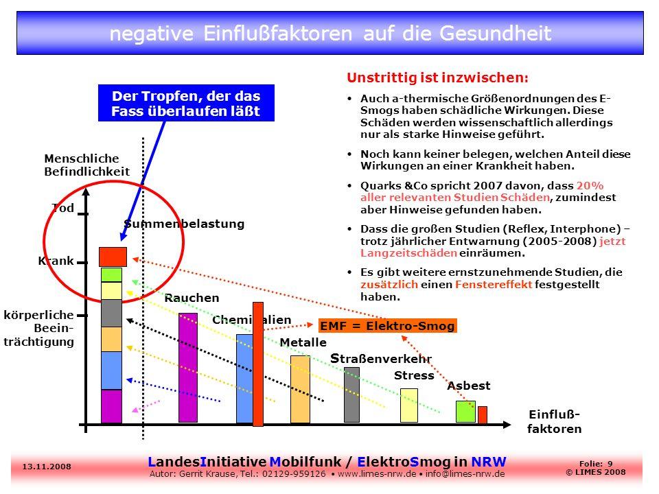 negative Einflußfaktoren auf die Gesundheit