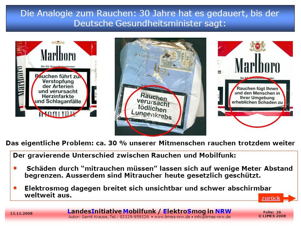 Die Analogie zum Rauchen: 30 Jahre hat es gedauert, bis der Deutsche Gesundheitsminister sagt:
