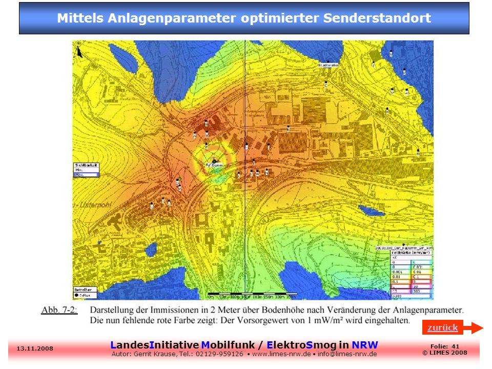 Mittels Anlagenparameter optimierter Senderstandort