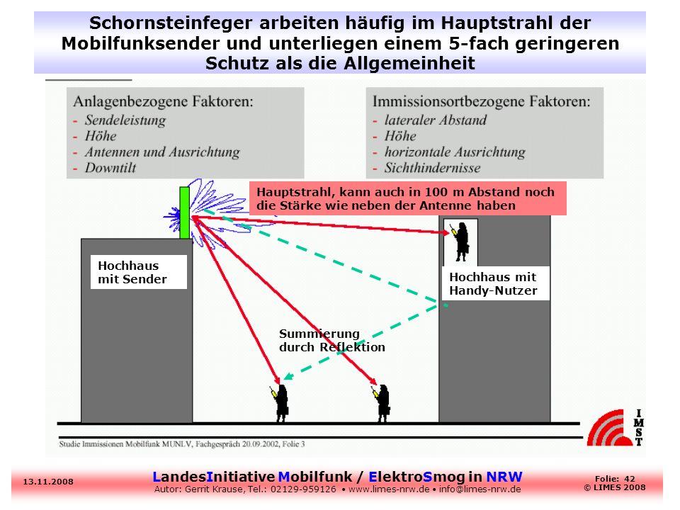 Schornsteinfeger arbeiten häufig im Hauptstrahl der Mobilfunksender und unterliegen einem 5-fach geringeren Schutz als die Allgemeinheit