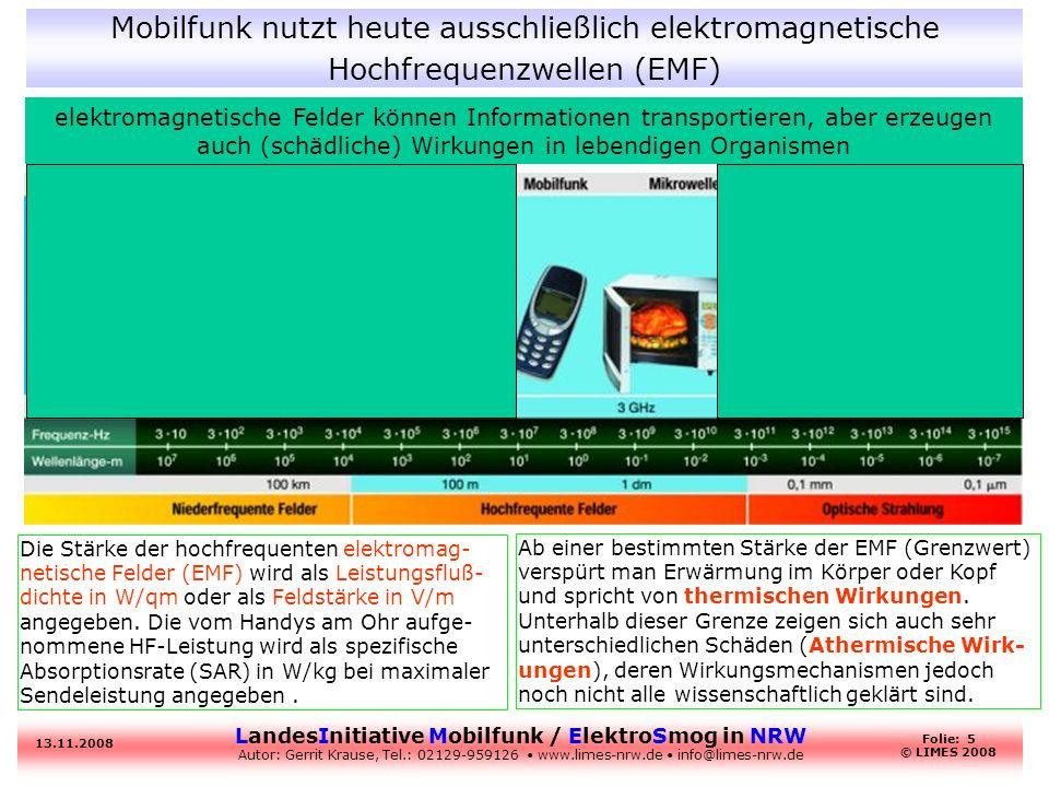 Mobilfunk nutzt heute ausschließlich elektromagnetische Hochfrequenzwellen (EMF)