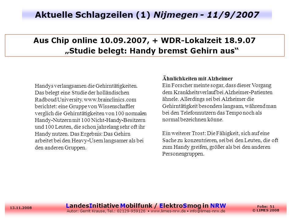 Aktuelle Schlagzeilen (1) Nijmegen - 11/9/2007