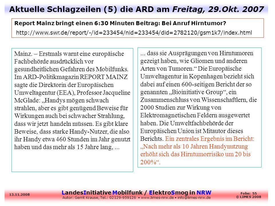 Aktuelle Schlagzeilen (5) die ARD am Freitag, 29.Okt. 2007