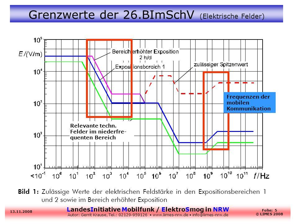 Grenzwerte der 26.BImSchV (Elektrische Felder)